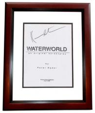 WATERWORLD Autographed Script by Kevin Costner MAHOGANY CUSTOM FRAME