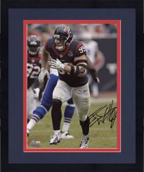 "Framed J.J. Watt Houston Texans Autographed 8"" x 10"" Blue Jersey Photograph"