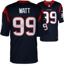 J.J. Watt Houston Texans Autographed Nike Limited Blue Jersey - Mounted Memories
