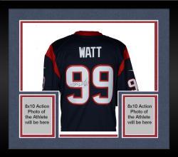 Framed J.J. Watt Houston Texans Autographed Nike Limited Blue Jersey