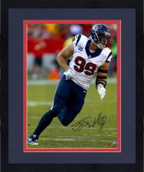 "Framed J.J. Watt Houston Texans Autographed 16"" x 20"" White Jersey Photograph"