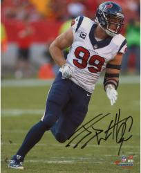 "J.J. Watt Houston Texans Autographed 8"" x 10"" White Jersey Photograph"