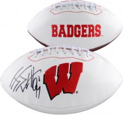 J.J. Watt Wisconsin Badgers Autographed Logo Football - Mounted Memories