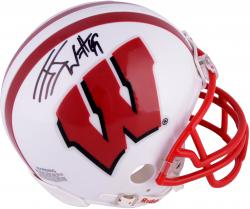 J.J. Watt Wisconsin Badgers Autographed Riddell Mini Helmet - Mounted Memories