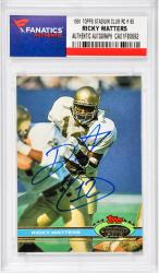 Ricky Watters Notre Dame Fighting Irish Autographed 1991 Topps Stadium Club #60 Rookie Card