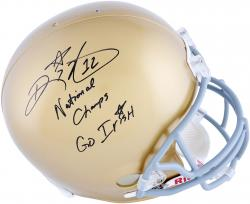 Ricky Watters Notre Dame Fighting Irish Autographed Riddell Replica Helmet with Natl Champs & Go Irish Inscriptions - Mounted Memories