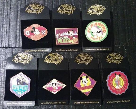 Wdw Disney Auctions Mickey Mouse Intl Hotel Series Complete Set 7 Pin Lot Rare