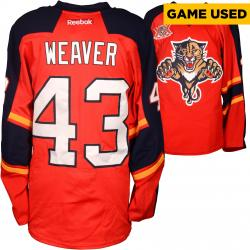 Mike Weaver Florida Panthers Game-Used 2013-14 Set 1 Red Jersey