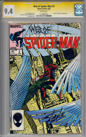 Web Of Spider-man #3 Cgc 9.4 White Ss Stan Lee Signed Cgc #1116995015
