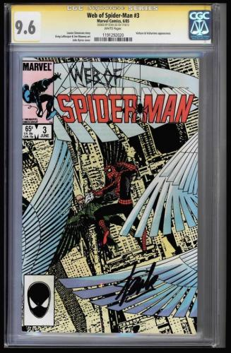 Web Of Spider-man # 3 Cgc 9.6 White Sss Stan Lee Signed Cgc #119129020