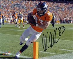 """Wes Welker Denver Broncos Autographed 8"""" x 10"""" Orange Pylon Photograph"""