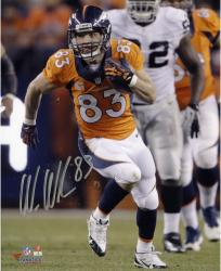 "Wes Welker Denver Broncos Autographed 8"" x 10"" Vertical Run vs Oakland Raiders Photograph"
