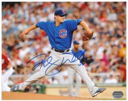"""Randy Wells Chicago Cubs Autographed 8"""" x 10"""" Horizontal Pitching Photograph"""