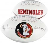 Bjoern Werner Florida State Seminoles (FSU) Autographed White Panel Football
