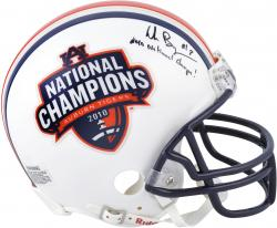 "Wes Byrum Auburn Tigers Autographed Half National Champions and Half Auburn Tigers Mini Helmet w/ Inscription ""2010 National Champs"" - Mounted Memories"