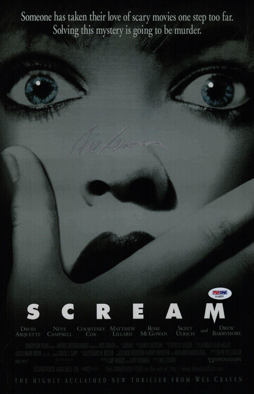 Wes Craven Signed Scream 11x17 Movie Poster Psa Coa Ad48201