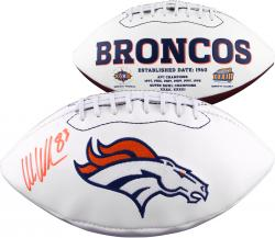 Wes Welker Denver Broncos Autographed White Panel Football Signed in Orange Ink
