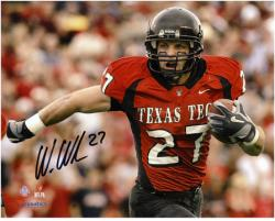 "Wes Welker Texas Tech Red Raiders Autographed 8"" x 10"" Horizontal Running with Ball Photograph"