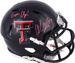 Wes Welker Texas Tech Red Raiders Autographed Mini Helmet with Guns Up! Inscription in Red Ink
