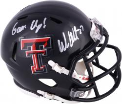 Wes Welker Texas Tech Red Raiders Autographed Mini Helmet with Guns Up! Inscription in Silver Ink