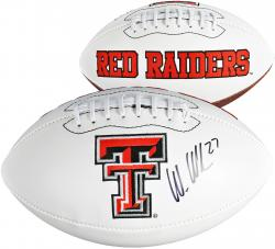 Wes Welker Texas Tech Red Raiders Autographed White Panel Football - Mounted Memories