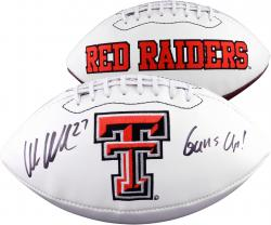 Wes Welker Texas Tech Red Raiders Autographed White Panel Football with Guns Up! Inscription