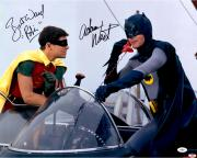 Adam West & Burt Ward Autographed 16'' x 20'' Batman and Robin Photograph