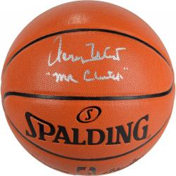 Jerry West Los Angeles Lakers Autographed Spalding Indoor Outdoor Basketball with Mr. Clutch Inscription - Mounted Memories