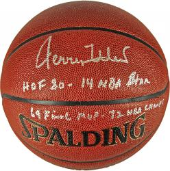 Jerry West Los Angeles Lakers Autographed Spalding Indoor Outdoor Basketball with Multiple Inscription-Limited Edition of 12 - Mounted Memories