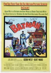 Adam West and Burt Ward Autographed Batman Movie Poster