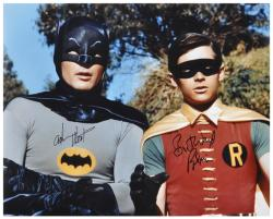 "Adam West & Burt Ward Dual Autographed 16"" x 20"" Tree In Background Photograph"