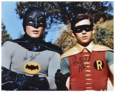"Adam West & Burt Ward Dual Autographed 16"" x 20"" Tree In Background Photograph"