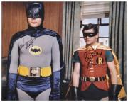 "Adam West & Burt Ward Dual Autographed 16"" x 20"" Window in Background Photograph"