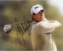 Fanatics Authentic Autographed Lee Westwood 8'' x 10'' Brown Shirt Swinging Photograph