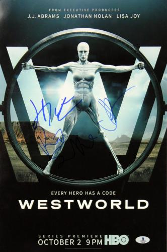 Westworld JJ Abrams, Rodrigo Santoro & Jeffery Wright Signed 12x18 Photo BAS