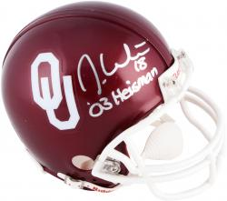 Jason White Oklahoma Sooners Autographed Riddell Mini Helmet with 2003 Heisman Inscription - Mounted Memories