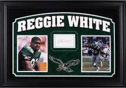 """Reggie White Philadelphia Eagles Deluxe Horizontal Framed Collectible with 2.5"""" x 3.5"""" Autographed Cut"""