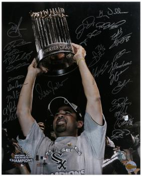 "Chicago White Sox 2005 World Champions Team Signed 16"" x 20"" Ozzie with Trophy Photograph with 27 Signatures"