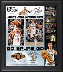 "Danny Green San Antonio Spurs 2014 NBA Finals Champions Framed 15"" x 17"" Collage with 2014 Finals Game-Used Basketball-Limited Edition of 250"
