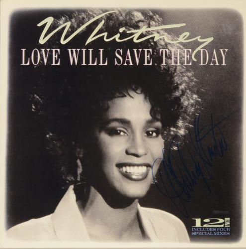 Whitney Houston Autographed Love Will Save The Day Album Cover - PSA/DNA LOA