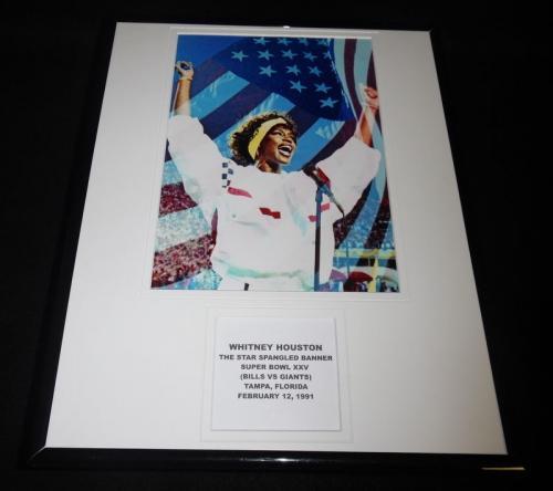 Whitney Houston Super Bowl XXV National Anthem Framed 11x14 Photo Display