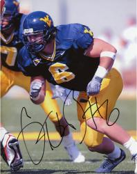 Grant Wiley West Virginia Mountaineers Autographed 8'' x 10'' Blue Jersey Photograph