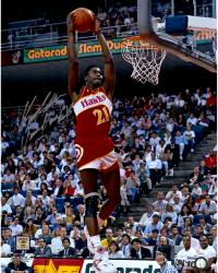 Dominique Wilkins Atlanta Hawks Autographed 16'' x 20'' Action Photograph with Human Highlight Film inscription