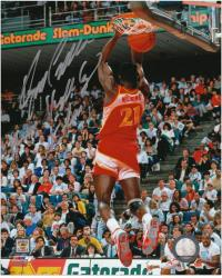 "Dominique Wilkins Atlanta Hawks Autographed 8"" x 10"" Dunk Contest Photograph with ""Human Highlight Reel"" Inscription - Mounted Memories"