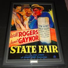 Will Rogers Sr Signed Framed 31x45 State Fair Poster Display PSA/DNA