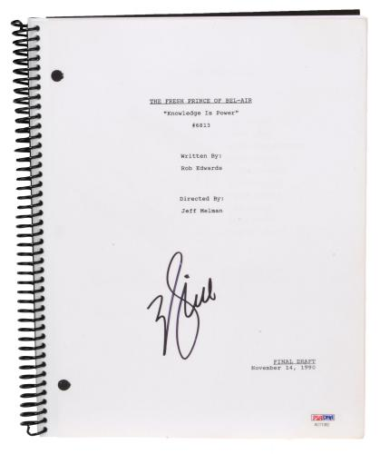 Will Smith Autographed The Fresh Prince of Bel-Air Knowledge is Power Replica Script - PSA/DNA COA