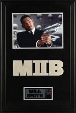 "Will Smith Deluxe Framed Autographed 11"" x 14"" Men in Black 2 Pointing Gun Photograph - PSA/DNA COA"