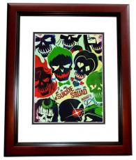 Will Smith, Jared Leto, and Cara Delevingne Signed - Autographed Suicide Squad 11x14 Photo MAHOGANY CUSTOM FRAME