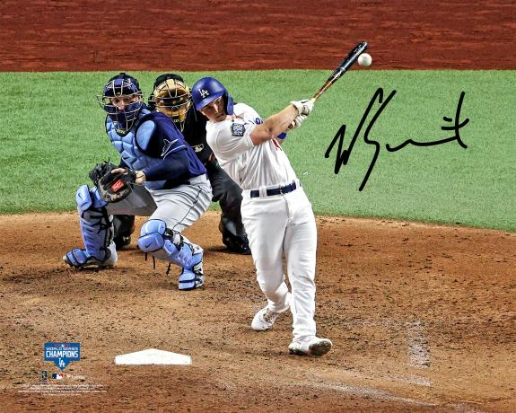 """Will Smith Los Angeles Dodgers 2020 MLB World Series Champions Autographed 16"""" x 20"""" Hitting Photograph"""