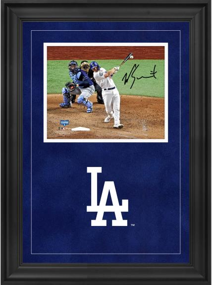 """Will Smith Los Angeles Dodgers 2020 MLB World Series Champions Deluxe Framed Autographed 8"""" x 10"""" Hitting Photograph"""